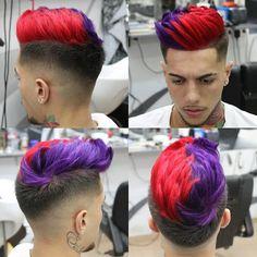Red & purple hair color for men on crown area. Mens Hair Colour, Cool Hair Color, Wedding Hair Colors, Boy Hairstyles, Crazy Hair, Rainbow Hair, Fall Hair, Hair Designs, Dyed Hair