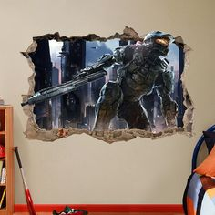 Halo 4/5 MASTER Chief 3d Wall Sticker Smashed Bedroom Kids decor Vinyl Removable…