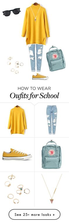 """""""back to school (fall) 1"""" by mcm262 on Polyvore featuring Topshop, Converse, Fjällräven, Yves Saint Laurent and Wolf Circus"""