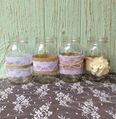 Mason Jar Centerpieces, Set of 4, Rustic Wedding Decor on Etsy, $36.50