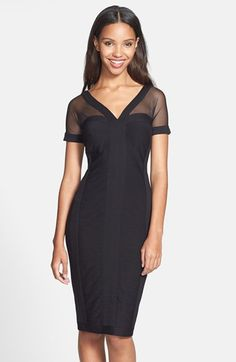 Free shipping and returns on T by Tadashi Illusion Neck Jersey Dress at Nordstrom.com. The paneled construction of a lean jersey dress creates a flattering, form-fitting silhouette. Sheer mesh panels along the shoulders and short sleeves further the style's sophisticated allure.