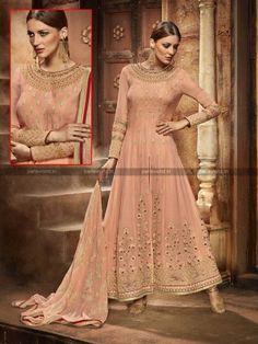 Peach Georgette Elegant Anarkali Salwar Suit