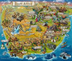 Illustrated map of South Africa – Map Collection South Africa Map, South Afrika, Cape Town South Africa, Out Of Africa, South Africa Honeymoon, South Africa Safari, African Map, African Safari, Thinking Day