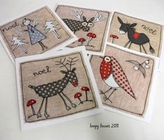 free motion embroidery Christmas cards - Before After DIY Freehand Machine Embroidery, Free Motion Embroidery, Free Machine Embroidery, Embroidery Ideas, Folk Embroidery, Vintage Embroidery, Diy Christmas Cards, Christmas Sewing, Handmade Christmas