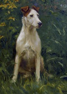 Smooth Fox Terrier 'The Best Spot in the Yard' , by Mary Beacon. Smooth Fox Terriers, Dog Portraits, Kitsch, Animal Paintings, Beautiful Dogs, Dog Art, Animal Photography, Painting & Drawing, Bull Terrier