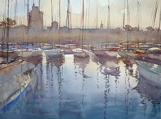 La Rochelle, France II by Keiko Tanabe Watercolor ~ 11 1/2 x 15 1/2 inches (29 x 39 cm)