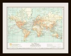 1925 WORLD MAP Antique Map - Buy 3 Maps Get 1 FREE by KnickofTime