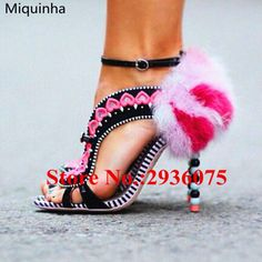 94.99$  Buy here - http://alik07.shopchina.info/1/go.php?t=32812862556 - Black Suede Leather Sweet Embroidery Mixed Color Gladiator Sandals Furry Feather Beading Heels Cut-Outs Sandalias Shoes Woman  #buyininternet