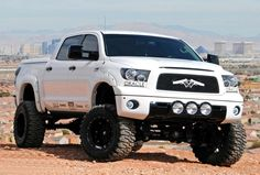 Check out the guns on this #Toyota Tundra Lifted with Offroad wheels and tires. The Tundra has always been one of my favorite trucks. #Love it as much as I do? REPIN! http://www.wheelhero.com/rims-and-tires