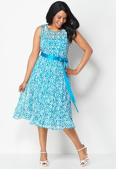 Printed Pleat Lace Dress, 9-0036082372, Printed Pleat Lace Dress Main View PDP #CBSummerLovin