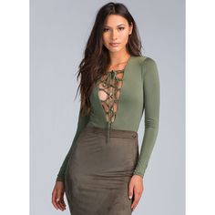 All Tied Up Plunging Lace-Up Bodysuit OLIVE ($28) ❤ liked on Polyvore featuring green