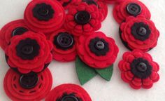 Red POPPY x3 Handmade Layered Felt Flower REMEMBRANCE DAY Button Embellishments Brooche on Etsy, $4.00