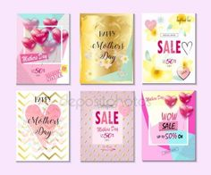 Happy Mothers Day collection. Set of Valentine's day, Mothers Day card, sale and web banners flyers templates with lettering, hearts, balloons. Typography poster, label, brochure banner design collection. Love, Romance promotion — Stock Vector © sofiartmedia.gmail.com #153216328