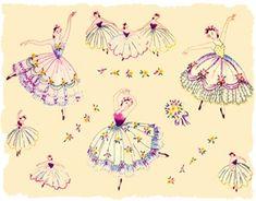 ballerinas vintage transfer