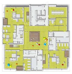 Day Care Centre in Essen, Germany. A square central core layout. School Floor Plan, Sims 4, Daycare Business Plan, Daycare Design, Kindergarten Design, Interior Design Presentation, Floor Plan Layout, Flash Photography, School Architecture