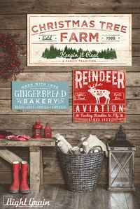 Wood Holiday Sign - Christmas Tree Sign Decoration - Rustic Country Home Christmas Decor
