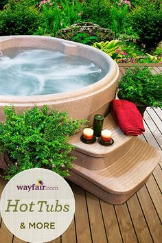 27 compelling spa spa designs for your garden After a long stressful day, a spa with a whirlpool integrated into your garden terrace is simply the ideal luxury for relaxing. Spas can b. Spa Design, Spas, Jacuzzi, Outdoor Living, Outdoor Decor, Outdoor Tub, Outdoor Ideas, Perfect Plants, Small Patio