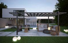 Diese Terrassenüberdachung kann auf- und zugezogen werden