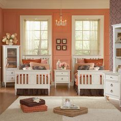 Gorgeous shared girl's room! Love the combo of peach and neutral tones    This is something I had wanted when I was a kid sharing with my two sisters...