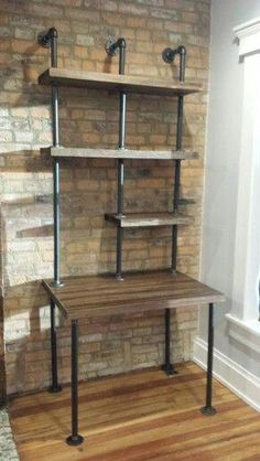 Home rustic industrial pipe shelves 48 ideas for 2019 Industrial Shelving, Industrial House, Industrial Lighting, Kitchen Industrial, Industrial Closet, Industrial Farmhouse, Industrial Pipe Desk, Farmhouse Decor, Rustic Shelving