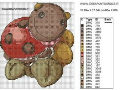 COCCINELLA THUN SCHEMA PUNTO CROCE Cross Stitch Charts, Cross Stitch Embroidery, Cross Stitch Patterns, Ladybug, Winnie The Pooh, Projects To Try, Teddy Bear, Painting, Crafts