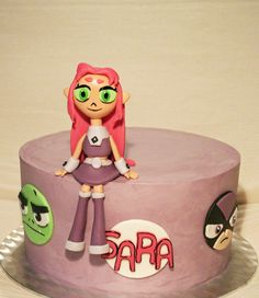 Teen Titans chocolate cake with dark chocolate and strawberry mousse filling. Made by PassioneCupcakes!