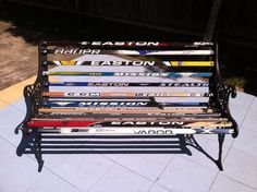Hockey Stick Bench This was a perfect way to recycle old bench ends. I used broken sticks and replaced each slat with hockey stick and your all set.got sticks. Sandi H Hockey Decor, Hockey Gifts, Hockey Mom, Hockey Stuff, Kids Sports Crafts, Sport Craft, Hockey Stick Crafts, Hockey Sticks, Hockey Cakes