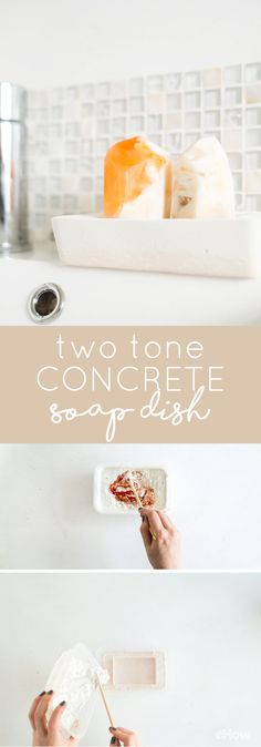 Dyeing concrete is a fantastic way to create a minimal, industrial look in your home that is still warm and inviting. In this tutorial, we used a light pink tone which is commonly seen in modern Scandinavian decor. The hue adds subtle color without overpowering the overall aesthetic, but use any color that matches your bathroom decor. http://www.ehow.com/how_12342904_make-two-tone-concrete-soap-dish.html?utm_source=pinterest.com&utm_medium=referral&utm_content=freestyle&utm_campaign=fanpage