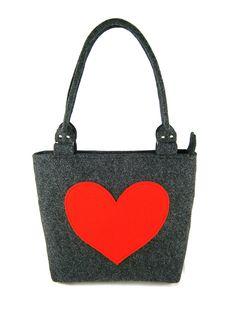 Heart handbag Felt purse Bag for women Gray bag Felt bag Designer handbag Felt shoulder bag Modern by Torebeczkowo on Etsy