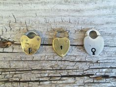 Three Tiny Vintage Heart Shaped Padlocks by bettyrayvintage