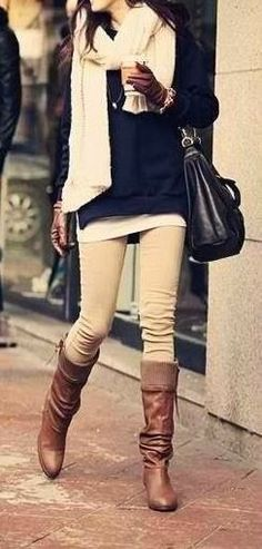 Adorable Khaki Skinnies. Cream Colour Pants and Scarf
