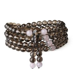 AmorWing 108 Mala Beads Smoky Quartz Reiki Healing Prayer Bracelet/Necklace for Yoga, Meditation with Rose Quartz
