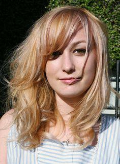 blonde with peach orange undertones. The peach enhances the blonde and creates dimension.