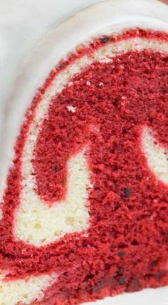 Vanilla Red Velvet Marbled Pound Cake