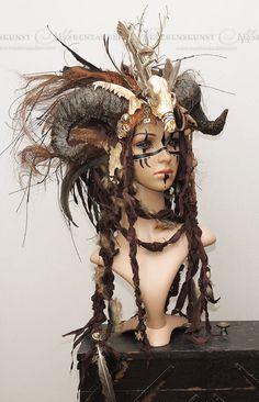 LARP-head dress-horns head dress-Voodoo headdress with horns