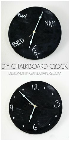 DIY Chalkboard Clock! Really fun idea for a kid's room or kitchen. via @Taryn {Design, Dining + Diapers}