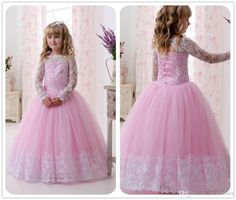 2017 New Hot Pink Tulle Bateau Flower Girl Dresses White Lace Long Sleeves Princess Dress Ball Gown Floor Length Girls Birthday Party Dress Flower Girl Dresses Sleeveless Flower Girl Dresses Girls Communion Dresses Online with $88.0/Piece on Mfsdresses's Store | DHgate.com