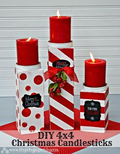 I see this in my future--DIY Christmas Candlesticks using Americana Decor Chalky Finish. Get tips for hosting a candlestick making party like 4x4 Crafts, Christmas Projects, Holiday Crafts, Holiday Fun, Crafts To Make, Holiday Decor, Christmas Ideas, Christmas Wood Crafts, Winter Christmas