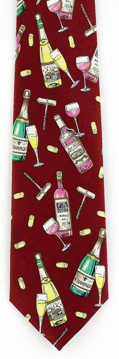 New Wine & Champagne Mens Necktie Red White Wines Corks Glasses Red Neck Tie #CJAndrews #NeckTie