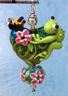 Made to order Margo lampwork beads frog bee heart by margolampwork, $35.00