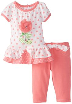 Nannette Baby Girls' 2 Piece Knit Shirt and Pant, Orange, 24 Months Little Girl Fashion Clothes, Cute Little Girls Outfits, Baby Kids Clothes, Doll Clothes, Kids Outfits, Kids Fashion, Baby Dress Design, Frocks For Girls, New Baby Girls