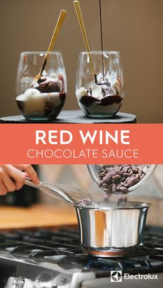 Red wine adds a rich, deep flavor to bittersweet chocolate sauce that pairs perfectly with your favorite, creamy ice cream. Simmer this sauce yourself for a delicious treat with this recipe from @ashrod of Not Without Salt.