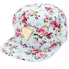 Bluetime Floral Flower Snapback Hip-Hop Hat Flat Peaked Adjustable... ($6.99) ❤ liked on Polyvore featuring accessories, hats, floral baseball cap, snapback hats, floral snapback, floral baseball hat and baseball cap