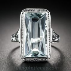 Vintage Aquamarine Art Deco Filigree Ring...love!!!!~HT