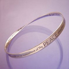 Sterling Silver Christian Bracelet   St. Francis' Prayer   Peace   Mobius Bangle Bracelet