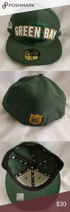 Green Bay fitted cap Hunter green New Era NFL Green Bay Packers fitted cap with embroidered team name on front and NFL logo on back. New. New Era Accessories Hats