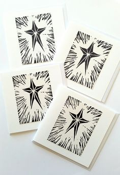 These delightful Star Christmas cards are printed in dark grey and black water based inks onto thick white paper which is then mounted onto a white card. I designed and cut the lino and all the. Diy Holiday Cards, Christmas Cards To Make, Xmas Cards, Christmas Art, Handmade Christmas, Christmas Card Designs, Linoprint, Linocut Prints, Printing On Fabric