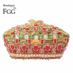 Multi Golden Red Crown Minaudiere Handbags Women Crystal Evening Clutch Bag Ladies Party Dinner Metal Clutches Wedding Hand Bag