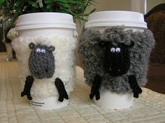 Sheep Cosies are coffee cup cozies made to fit most small sized beverage cups that you find at coffee houses.