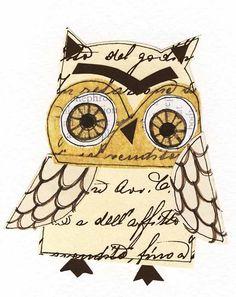 love this handmade paper owl artwork...
